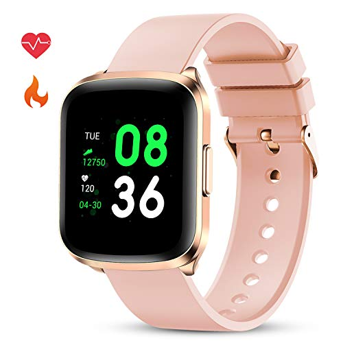 GOKOO Smart Watch for Men Women Fitness Tracker with All-Day Heart Rate Monitor Waterproof IP68 Sleep Monitor Pedometer Step Calorie Kilometer Music Camera Remote Full Touch Smartwatch (Pink)