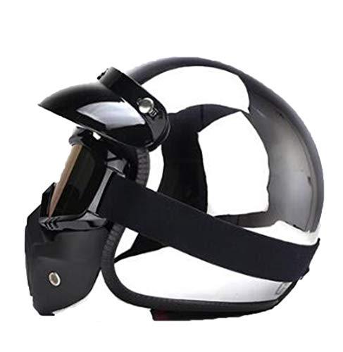Cascos retro de cara abierta para adultos Motocross desmontable unisex ciclo de seguridad Jet Silver Chrome casco de motocicleta 55-64cm