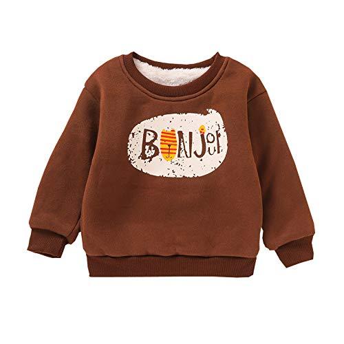 Langarmshirts Kinder Kind Jungen Verdicken T-Shirt Letter Print Oberteile Tops Lässig Dick Pullover Sweatshirt, Brown, 3-4 Jahre