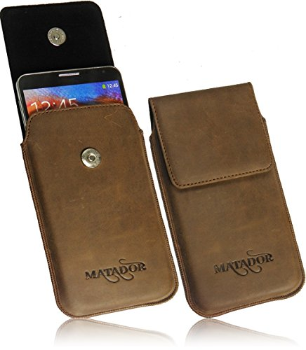 MATADOR Für LG Optimus G Pro Lite Slim Design Vintage Erscheinungsbild Antik Echt Ledertasche Handytasche Schutzhülle Etui Vertikaltasche Tabacco mit Magnetverschluß & Ausziehhilfe