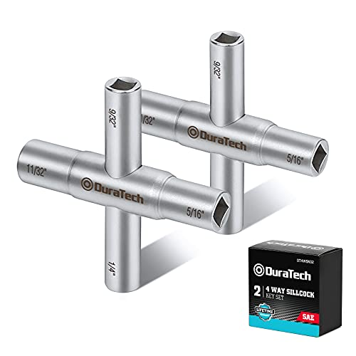 DURATECH 4 Way Sillcock Key Set, 1/4', 9/32', 5/16', 11/32', 2-Pack, for Valve, Faucet, and Spigots