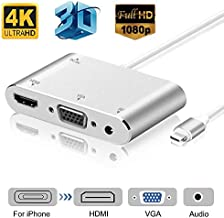 HDMI VGA AV Adapter Converter, MKROYO 2019 Newest Version 5 in 1 Plug and Play Digtal AV Adapter for iPhone X / 8 / 8Plus/7/7Plus/6/6s/6s Plus/5/5s iPad iPod to Projector HDTV