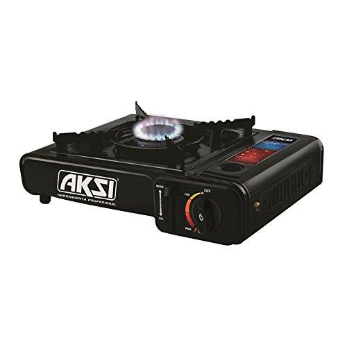 Estufa de gas potátil marca AKSI par apoder cocinar donde lo necesite, en campamentos o en casas rodantes. Tambien sirve para emergencias en casa.