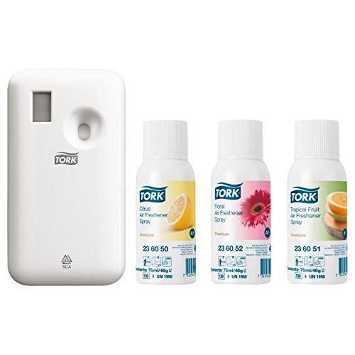 Tork 972.000 Starter Pack mit Spender für Lufterfrischer und 3 verschiedenen Duft Sprays