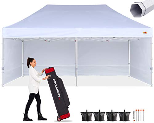 ABCCANOPY Premium Canopy 10x20 Pop Up Commercial Canopy Tent with Side Walls Instant Shade, Bonus Upgrade Roller Bag, 6 Weight Bags, Stakes and Ropes, White