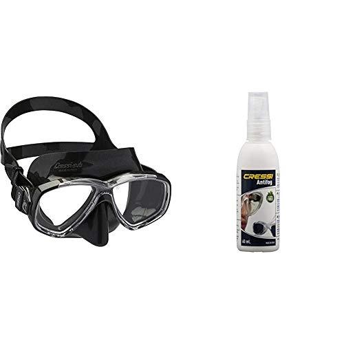 Cressi Perla Gafas de Snorkeling, Unisex Adulto, Negro, Talla Única + Premium Anti Fog - Antivaho Spray para Máscara de Buceo/Gafas de Natación, 60 ml