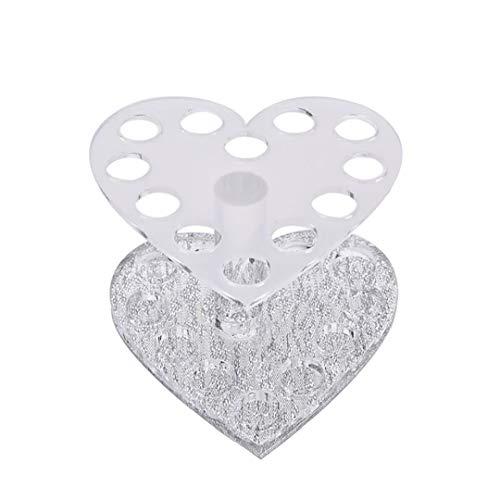12 trous Maquillage Nail Art Pinceau Support acrylique Pinceau Gel Pen Holder Coeur de maquillage en forme d'affichage Brosse Stand For Salon ou utilisation à domicile (Silver)