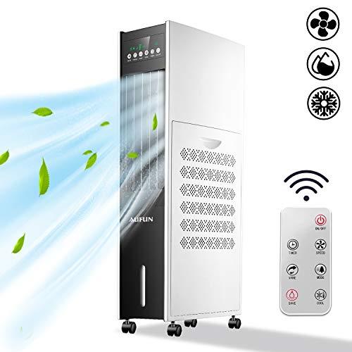 Aufun Mobile Klimaanlage ohne Abluftschlauch, 8 L Tank, 80W Luftkühler mit Verdunstungskühlung, Klimagerät mit Fernbedienung und Timer, 3 Leistungsstufen, 4 Kühlakkus