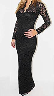 Women Dress Long-sleeved V-neck Package Hip Hollow Out Full Lace Dress, Size: Xxl, Fyn- 8040