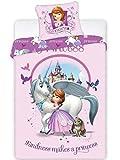 Carbotex Sofia 007 - Juego de ropa de cama infantil (2 piezas, 140 x 200 cm, funda de almohada de algodón), diseño de princesa Sofia