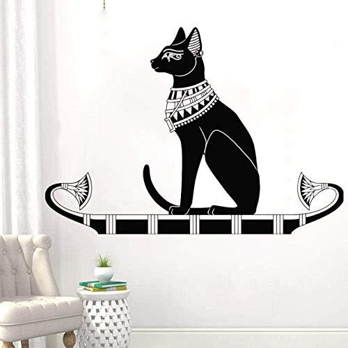 Vinyl Wandtattoo Altes Ägypten Ägyptischer Katzengott Bastet Wandaufkleber Wohnaccessoires Zubehör Für Wohnzimmer Schlafzimmer 60X42Cm