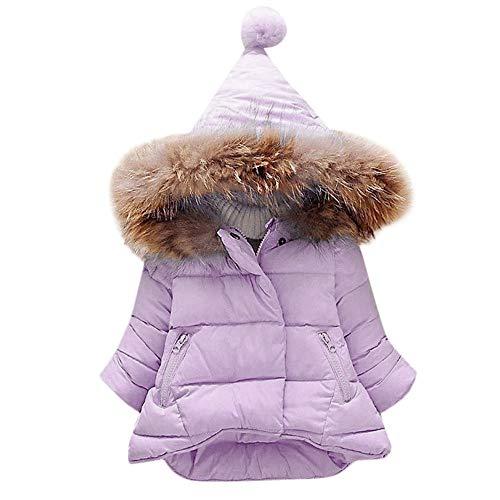 FeiliandaJJ Baby Mädchen Mit Kapuze Daunenjacke Kinder Winter Pelzkragen Dicke Warme Zipper Einfarbig Baumwolle gefütterte Jacke Outerwear Coat (80 (6~12Monate), Lila)