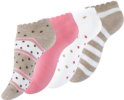 Vincent Creation 8 Paar Damen Freizeit Sneaker Socken mehrfarbig mit Streifen & Punkte