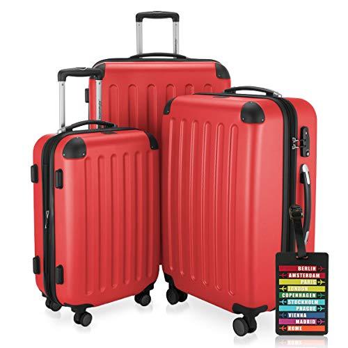 HAUPTSTADTKOFFER - Spree - 3er Koffer-Set + Kofferanhänger - Handgepäck 55 cm, mittelgroßer Koffer 65 cm, großer Reisekoffer 75 cm, TSA, 4 Rollen, Rot