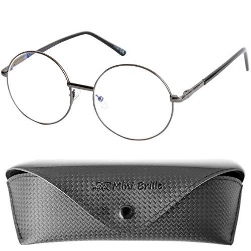 Hippie Runde Lesebrille mit Große Gläser, GRATIS Brillenetui, Anti Blaulicht Brille Stil 60er Jahre aus Metall (Graphit), Lesehilfe Damen +2.0 Dioptrien