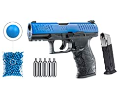 IN THE BOX: 1 x T4E Walther PPQ LE Blue Training Kit, 2x Mags, 1 x Pack of 100 .43 Cal Blue Paintballs, 1 x Pack of 5x12gr CO2 Tank, 1 x Hard Case Authorized Walther P99 by T4E/Umarex CO2 Blowback Action Shoots .43 Caliber Paintballs, Rubber balls, P...