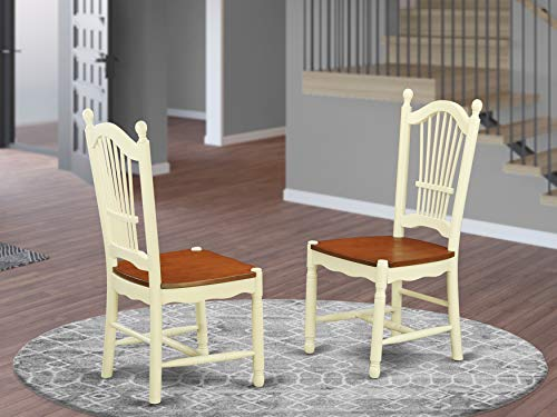 East West Furniture Dover modern dining chair - Wooden Seat and Buttermilk Hardwood Frame dining room chair set of two