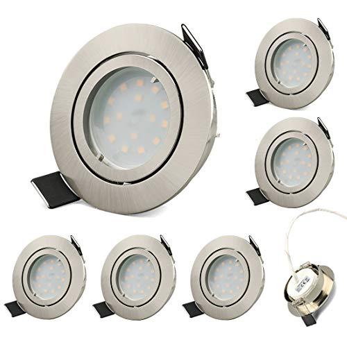 LED inbouw badspot ultra vlak,warm wit 3000K 5W 400 Lumen,Met spiegel en waterdichte pad,IP44 LED inbouw badplafond spot bad (Buitendiameter 82 mm, Nikkel geborsteld)