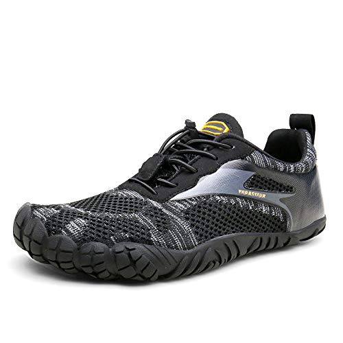 Oberm Womens Trail Running Shoes Barefoot Minimalist Five Fingers Wide Toe Box Gym Workout Fitness Low Zero Drop Male Light Weight Comfy Lite Tennis Five Fingers Black