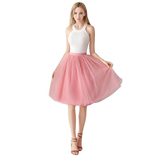 ShowYeu Damen Mid Calf Petticoat A-Linie Tutu Tüllrock Party Abschlussball Jupe Saias Brautjungfernkleid Mauve Rot
