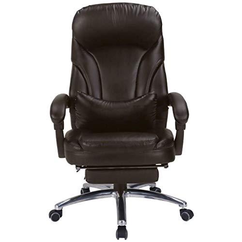 YUXIwang Silla de oficina, silla de ordenador, silla reclinable para el hogar, silla de oficina, respaldo giratorio, para estudiante, cómodo, cojín de 200 kg, marrón, 51 x 49 x 110 cm