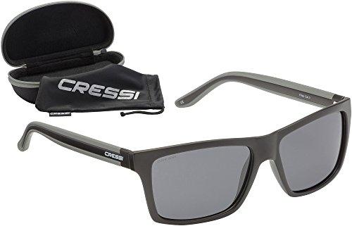 Cressi Unisex-Erwachsener Rio Sunglasses Premium Sport Sonnenbrille Polarisierte 100% UV-Schutz, Brillengestell Schwarz-Dunkelgraue Linsen, Einheitsgröße