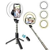 Selfie Ringlicht mit Stativständer Telefonhalter Wiederaufladbares Selfie Stick Stativ,6,3' LED-Kamera Füllen Sie das Licht mit Blitzschuhadapter für...