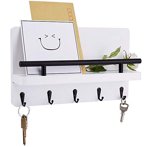 Artmag Wooden Key Holder for Wall Decorative Mail Shelf Sorter Organizer Wall Mounted with 5 Hooks for Keys, Letters, Bills-Perfect Home Decoration for Entryway, Mudroom, Hallway(White)