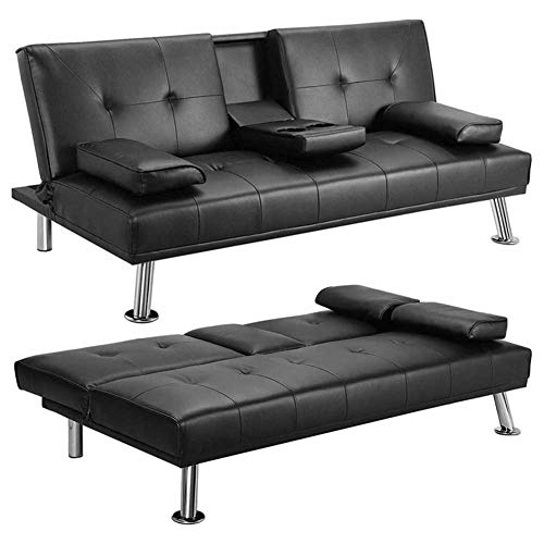 RJMOLU Convertible Sofa Couch Sleeper, 3 Seater Sofa Bed, Recliner Thick Cushions Convertible Adjustable Split Back Middle Table w/Armrest Cup Holder