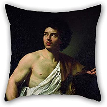 UPILLO Pillowcover 16 X 16 Inches / 40 by 40 Cm(Both Sides) Nice Choice For Husband Kids Boys Festival Son Him Teens Boys Oil Painting Simon Vouet - David with The Head of Goliath