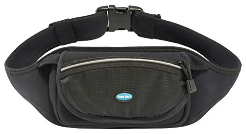 Tune Belt Running Waist Pack for iPhone 11/12, 12 Pro, 11/12 Pro Max, Note 20, Galaxy 20 Plus, S20 Ultra - Fits Any Smartphone With Case - For Fitness, Hiking & Travel - Water Resistant [Black]