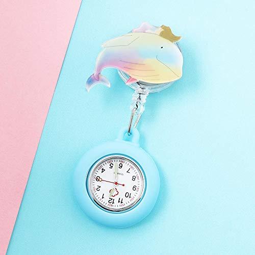 dihui Reloj Bolsillo de Broche en Silicona,Reloj médico Luminoso, Reloj de Bolsillo con Cofre retráctil-Camel,Relojes Silicona Enfermera
