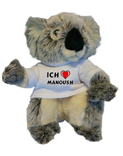 Personalisierter Koala Plüsch Spielzeug mit T-shirt mit Aufschrift Ich liebe Manoush (Vorname/Zuname/Spitzname)