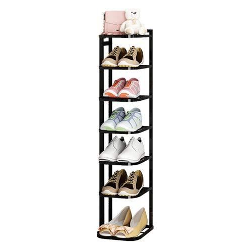 DICSVL Zapatero Estante Hierro Forjado Plegable Fácil de Poner en la Puerta Almacenamiento doméstico pequeño y Estrecho Gabinete de Zapatos a Prueba de Polvo Estante económico de Varias Capas