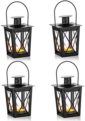 zyh 4 linternas para Velas,Mini linternas de Vela Decorativas de Metal Negro Vintage,portavelas,Soportes,candelabro (4artículo)
