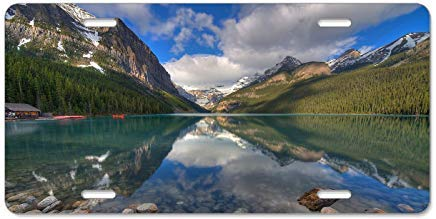 qidushop Kennzeichenschild, Motiv: Morning Lake Banff Alberta Kanada