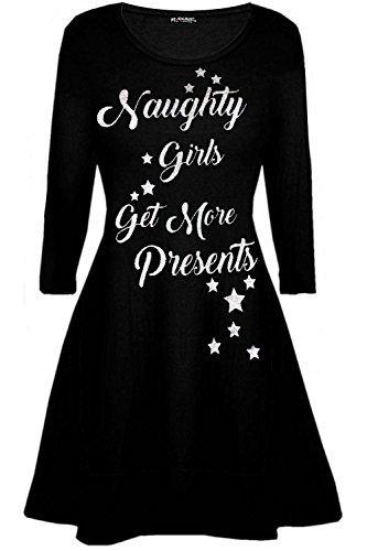 Wees Jaloers Womens Dames Kerstman Rendier Muur Sneeuwvlok Kostuum Kerstmis Kerstmis Swing Jurk UK Plus Maat 8-26