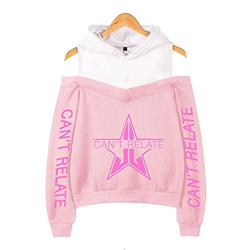 CCEE Jeffree Star Sudadera con Capucha con Hombros Descubiertos Frauen Teens Girls Jeffree Star Fashion Lässig Print Fashion Pullover