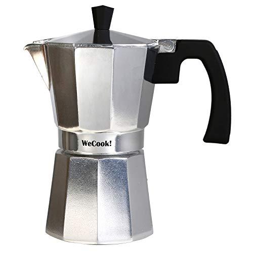 Wecook Paola Espressokocher aus Aluminium, 12 Tassen Kaffee, Silikondichtung, Sicherheitsventil, silberfarben