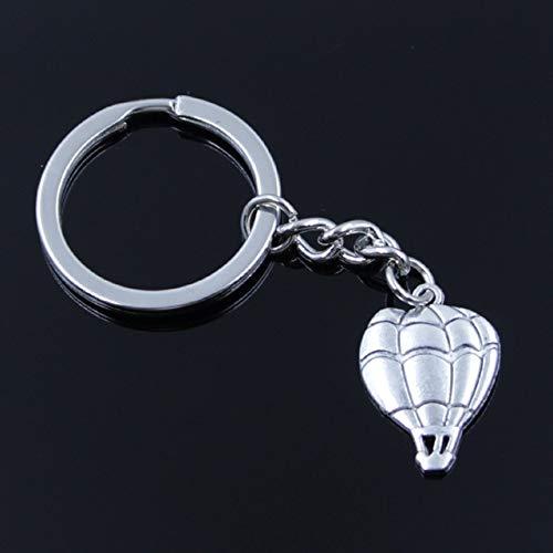 MEIHEK Männer 30mm Schlüsselbund DIY Metallhalter Kette Vintage Heißluftballon 25x17mm Silber Farbe Anhänger Geschenk Silber Farbe