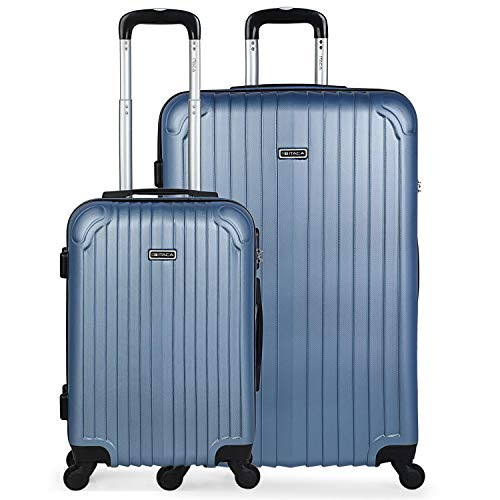 ITACA - Juego de Maletas de Viaje Rígidas 4 Ruedas Trolley ABS. 2 Tamaños: Pequeña Cabina 55, Grande Extensible 76. Calidad Duras Reforzadas y Ligeras. Bonitas y Baratas. T71517, Color Azul Zafiro