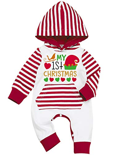 KISSB My First Christmas Clothes Newborn Baby Striped Santa Romper One Piece Overall with Hood Infant Christmas Outfit (3-6M)