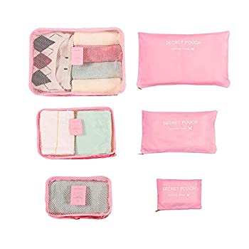 Travel Packing Toiletry Pouches travelling bag,Clothes Packing Cube Luggage Organizer,set of 6,Travel Storage Bags,Travel Multi-functional Clothing Sorting Packages,Pink