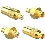 Coolpea Dab Antena Adaptador Conector MCX a SMB Macho y Hembra 4 Kit, Adaptador para Antena Dab Radio de Coche FM RF Antena de Banda Ancha, Cable de Coche y satélite etc.