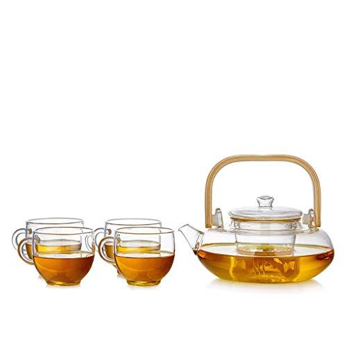 GONGFF Juego de té de Vidrio Taza Elegante Tetera Gruesa Tetera doméstica Resistente al Calor Taza de Ceremonia de té de Oficina con Filtro Taza de té Hervidor de Bandeja de té a Juego (Estilo: C)