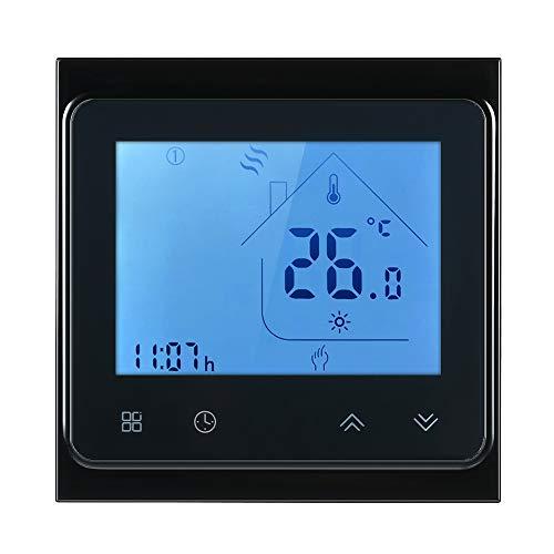 Decdeal Raumthermostat 5A Programmierbare WiFi LCD Digital Display Touchscreen Thermostat mit Sprachsteuerung Funktion 0.5 ° C Genauigkeit für Fußbodenheizung Wasserheizung