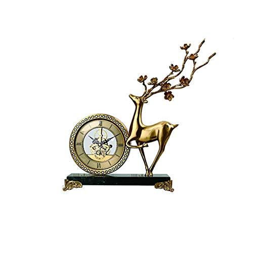 jinyi2016SHOP Table Clock Brass Material/vertical Table Clock/simple Style, Porch, Living Room, Bedroom, Home Desk Clock/, Black 15 Inches,mantel Clock Desk Clock