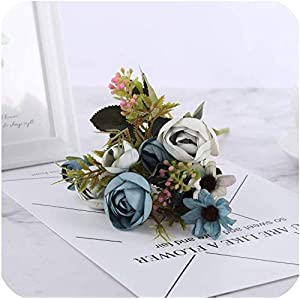 GzxLaY Silk DIY Daisy Camellia Artificial Flowers Small Rose Bride Bouquet Xmas Party Decor Faux Fake Flowers Wedding Home Decoration,Daisy Rose Purple,Size:One Size,Color:Daisy Rose Blue
