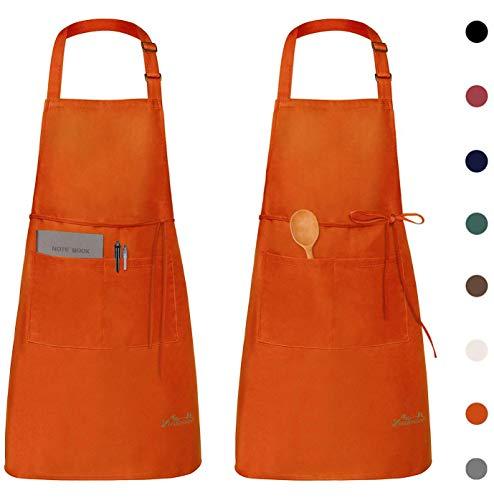 Viedouce schort, 2-pack waterdichte Schorten keukenschort met zakken, verstelbare keukenschort, BBQ-schort, slabbetje, keukenschort (Oranje)