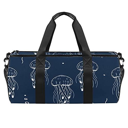 Bolsa de gimnasia con fondo marino para hombres y mujeres, bolsas de fin de semana, bolsa de viaje con bolsillo impermeable